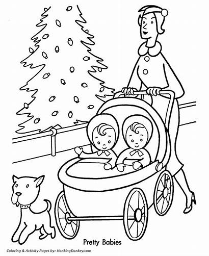 Coloring Pages Christmas Shopping Babies Mother Sheet