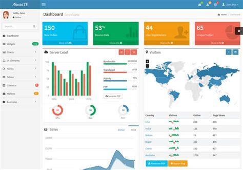 adminlte template alternative free responsive bootstrap admin templates 2014 w3lessons