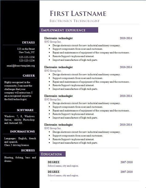 Open Office Resume Template by Cv Template Open Office Resume Template Free Microsoft
