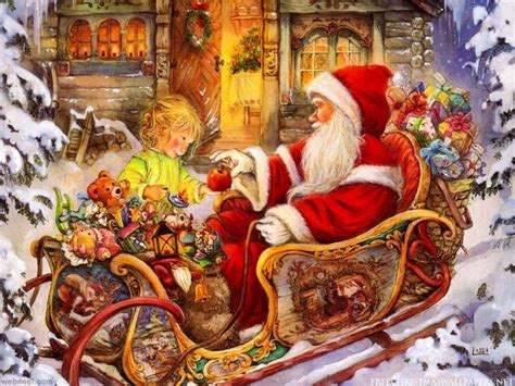 christmas santa paintings