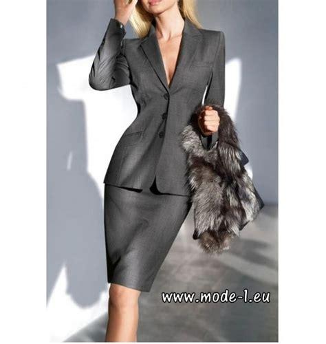 business damen business damen kost 252 m blazer rock im set in silber grau