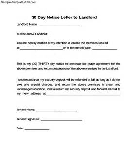 30-Day Notice to Landlord Sample
