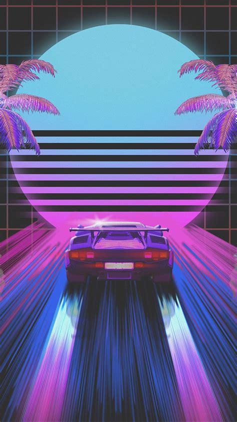 Download wallpaper 1080x1920 car, retro, art, 80s, neon ...