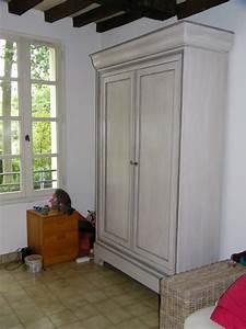 Armoire Louis Philippe Restaure Et Peinte En Blanc Patin