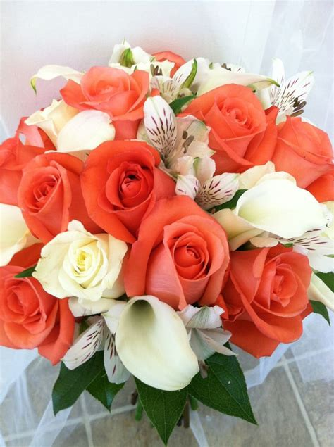 Coral And White Bridal Bouquet With Coral And White Roses