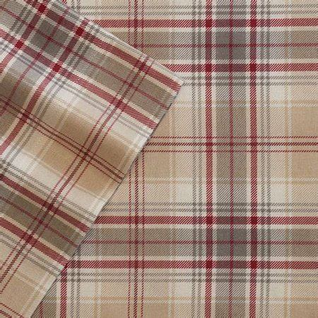 cuddle duds tan red plaid flannel sheet set queen bed