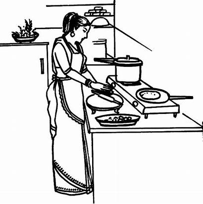 Cooking Kitchen Mother Coloring Pages Dinner Drawing