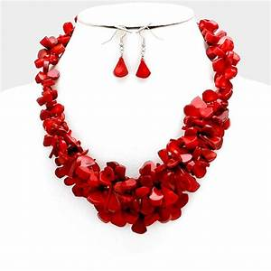 Red Coral Chip Bead Cluster Necklace Set Urban Glitz