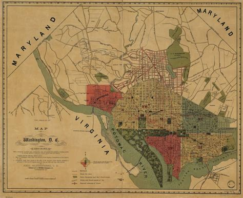 Awesome 1887 Map of Washington Ghosts of DC