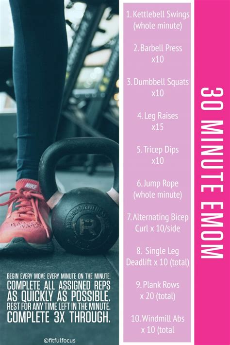 emom workout minute workouts cardio leg strength fitfulfocus dumbbell body challenging minutes weights total fun
