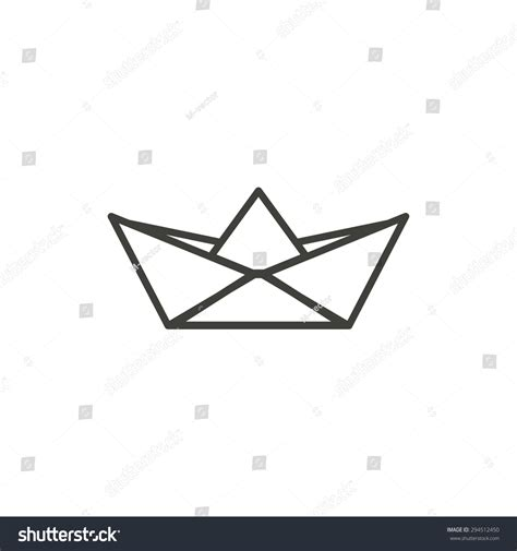Origami Boat Outline by Paper Boat Line Icon On White Stock Vector 294512450