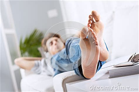 relaxing barefoot stock photo image
