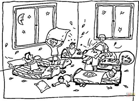 Crazy Kids At Sleepover Coloring Page