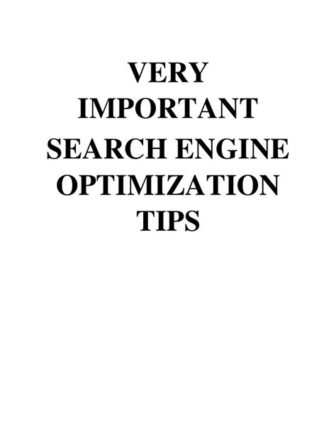 search engine optimisation strategies important search engine optimization tips