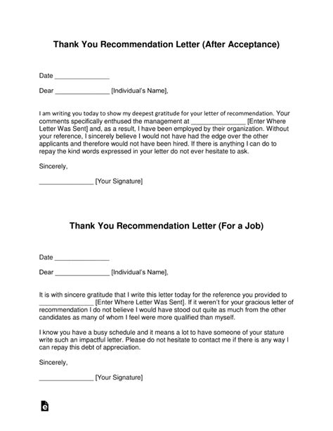 Thank You Letter Template Free Thank You Letter For Recommendation Template With
