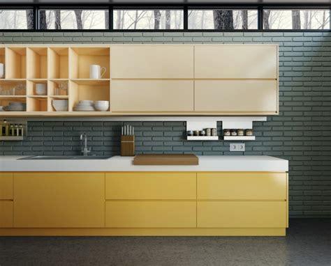 meuble cuisine jaune idée déco cuisine une déco cuisine moderne en jaune et gris
