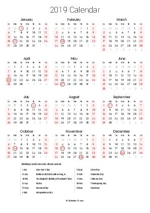 Printable Calendar 2020 Colorful