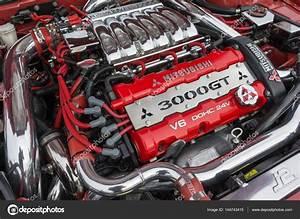 Mitsubishi 3000gt Motor En Pantalla  U2014 Foto Editorial De