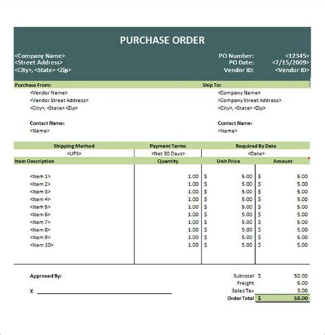 purchase order templates  images purchase