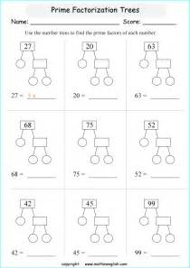 factoring numbers worksheets printable math worksheets prime factorization prime factor trees range 4 to 48 a number sense