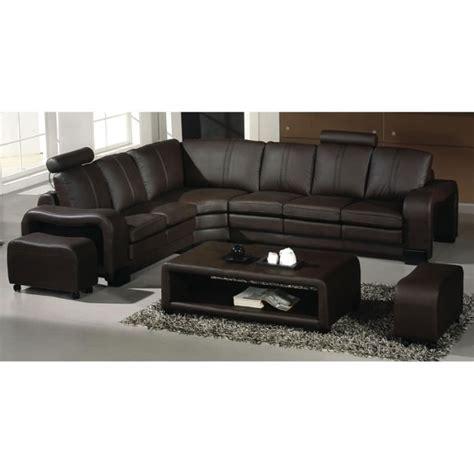 canapé d 39 angle en cuir marron avec têtières relax havane