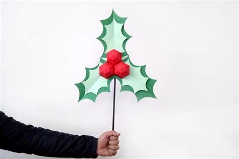 diy christmas holly leaves stickchristmas  paperamaze