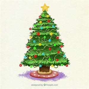 Weihnachtsbaum Mit Rosa Kugeln : aquarell weihnachtsbaum mit kugeln und lichtern verziert ~ Orissabook.com Haus und Dekorationen