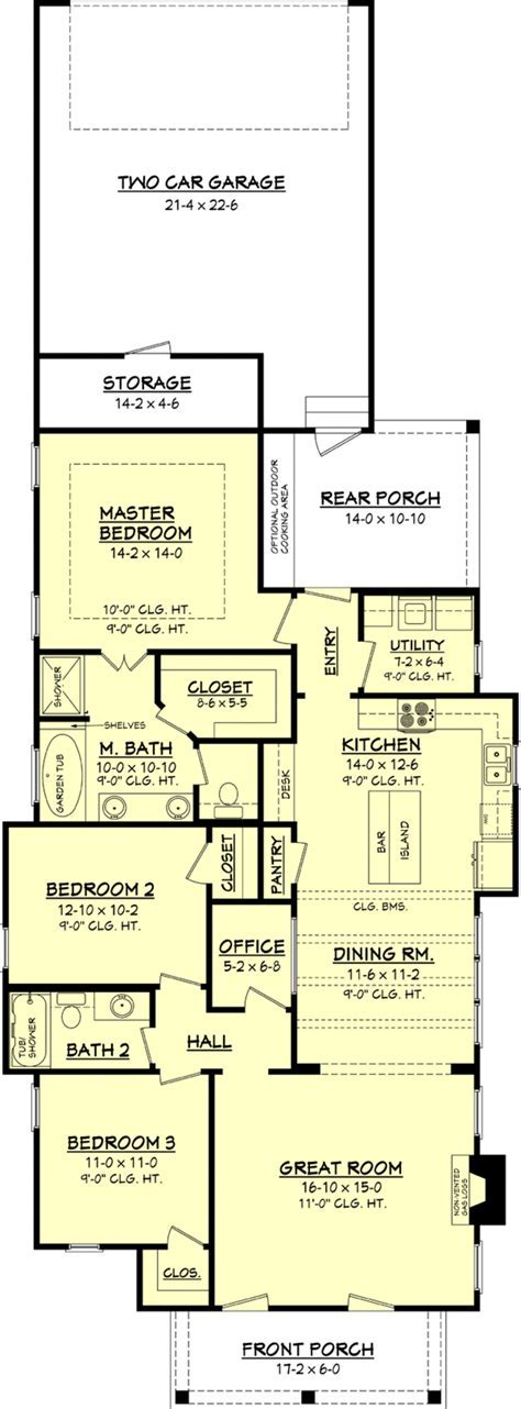Cottage Style House Plan   3 Beds 2 Baths 1550 Sq/Ft Plan