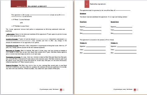 Dealer Application Template by Ms Word Dealership Agreement Template Word Document