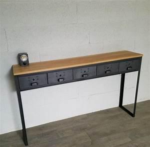 Console A Tiroir : meuble tv industriel acier bois fabrication artisanale ~ Teatrodelosmanantiales.com Idées de Décoration