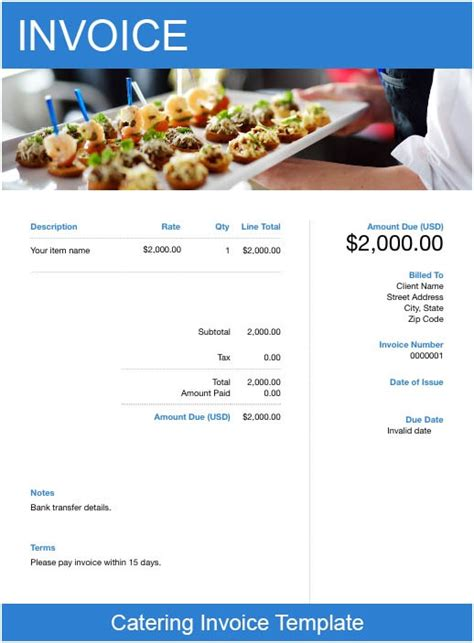 catering invoice template   send  minutes