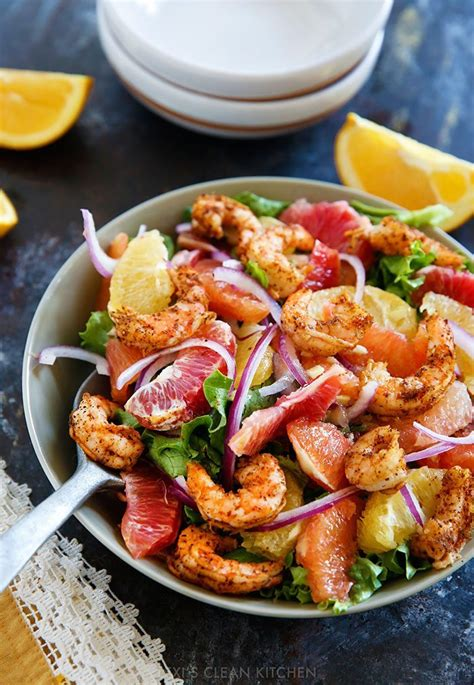 This spicy thai shrimp salad is made with plump, juicy shrimp, fresh herbs and veggies, and drizzled in a deliciously spicy thai salad dressing. Spicy Shrimp and Citrus Salad - Lexi's Clean Kitchen