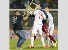 In Pix Drone stunt causes brawl; SerbiaAlbania match