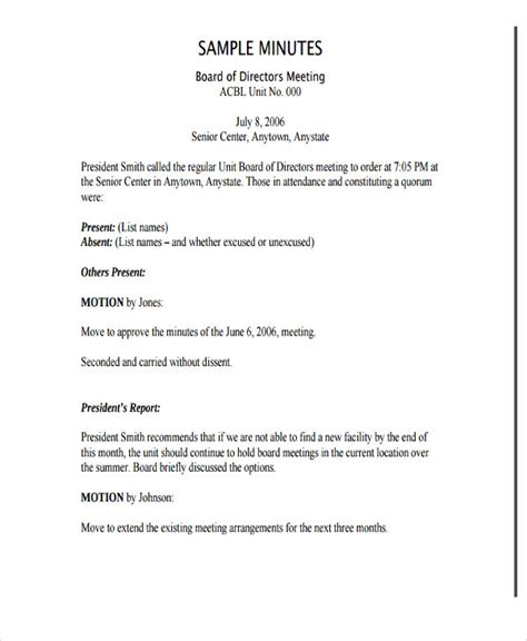 board minutes template 7 nonprofit meeting minutes template free premium templates