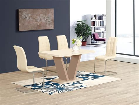 Cream High Gloss Glass Dining Table and 4 Chairs   Homegenies