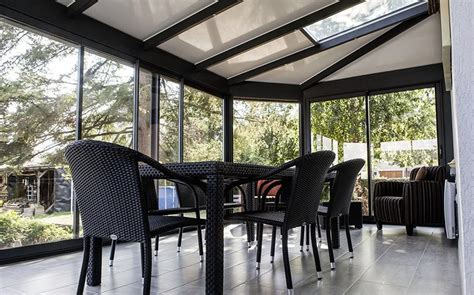 cuisine simulation véranda jardin d 39 hiver gris anthracite grandeur nature