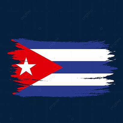 Cuba Flag Painted Transparent Brush Watercolor Psd