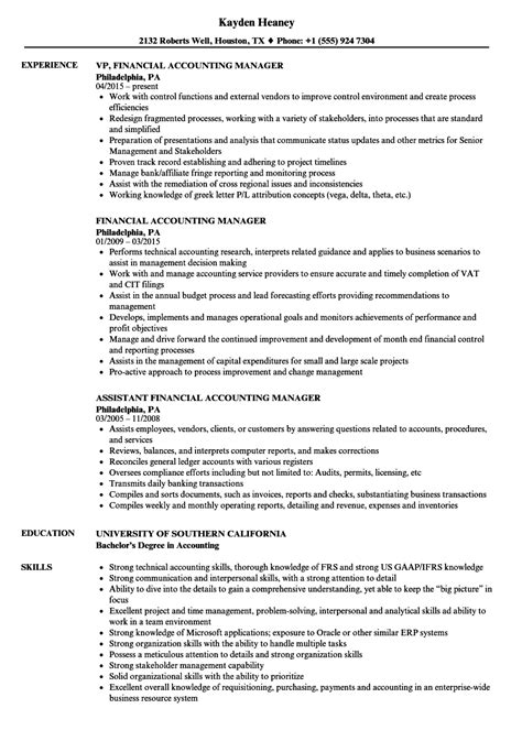 Resume For Accounting Manager by Financial Accounting Manager Resume Sles Velvet