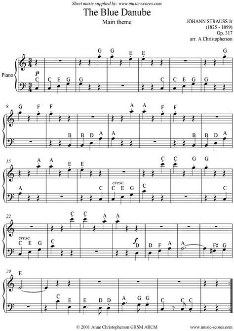 the blue danube easy piano sheet by johann jr