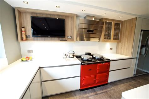 aga style ovens in a bulthaup kitchen contemporary contemporary kitchen aga cooker stock photos