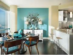 Modern Black House Bright Accents Marine Atmosphere Turquoise Dining Room Home Caprice