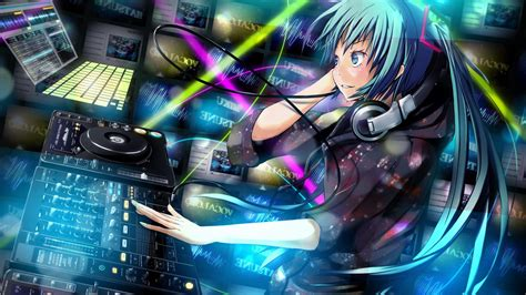 Anime Dj Wallpaper - デスクトップ壁紙 アニメの女の子 ボーカロイド 初音ミク dj ミキシングコンソール スクリーン