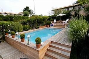 plage et margelles piscine quels materiaux choisir With terrasse bois avec piscine