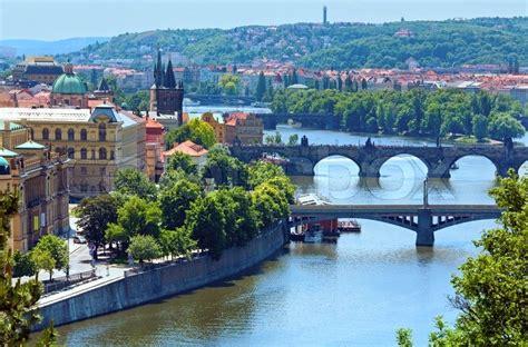 bridges of vltava river and old town view prague czech republic stock photo colourbox
