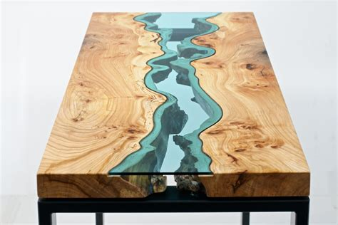 table topography wood furniture embedded  glass