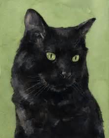 black cat painting custom cat portrait watercolor painting 5x7 david