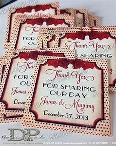 vintage s style pin up wedding favor tags in ivory and red With wedding invitations 50s style