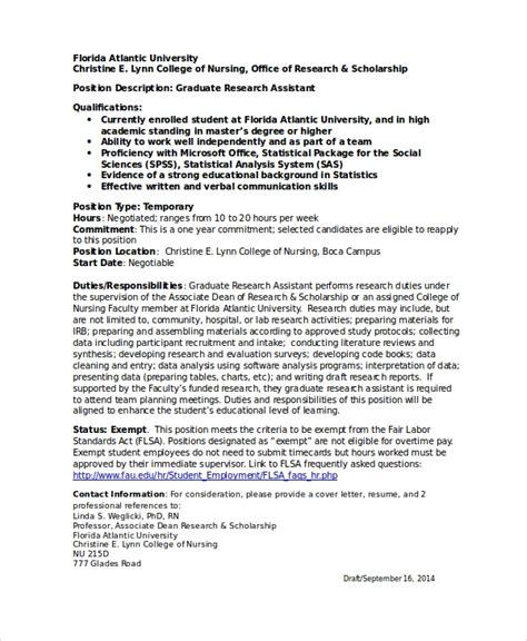 Research Assistant Resume by Research Assistant Resume Template 5 Free Word Excel