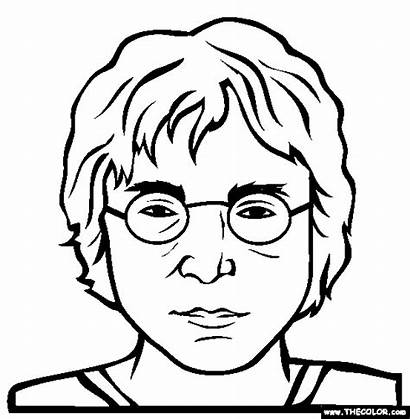 Lennon John Coloring Pages Famous Drawing Wolf