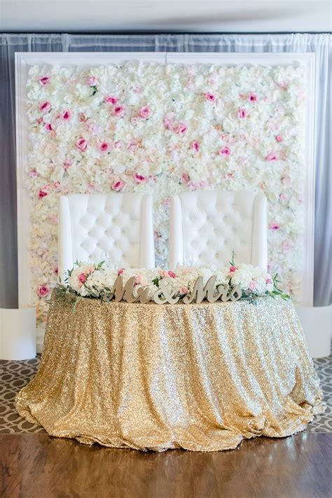 sweet pink  gold wedding sweetheart table ideas
